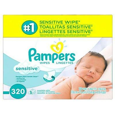 Pampers Baby Wipes Sensitive 5X Refill, 320 Count New