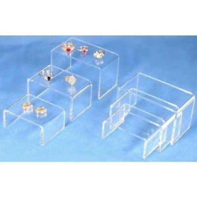 6 Clear Acrylic Jewelry Display Risers Showcase Fixtures New