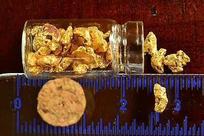 Genuine and natural Australian Gold Nuggets; 5 gram inside vial