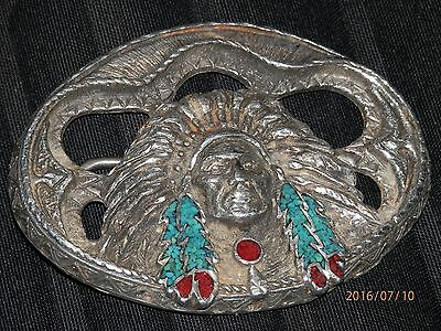 """1995 EJC """"Chief"""" Turquoise and Coral Inlaid Western Belt Buckle ~ Made In USA"""