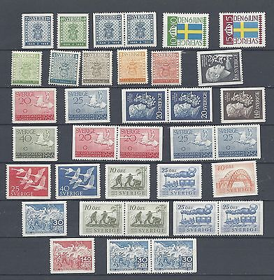 Sweden Years 1955-1957 MNH With Pairs Scott $ 48.20