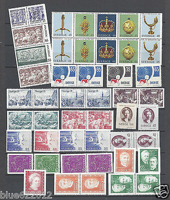 Sweden Year 1971 MNH With Pairs Scott $31.75
