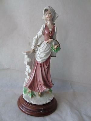 """Large Capodimonte Figure of Lady with Basket of Flowers by Auro Belcari 11"""""""