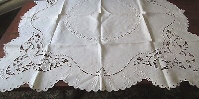 """superb antique linen tablecloth~49"""" sq w HAND DONE embroidery+cutwork, amazing"""