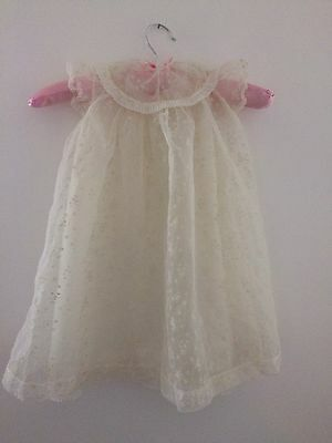 Beautiful Vintae Baby Doll Sheer Christening Gown Dress With Underskirt (3913)