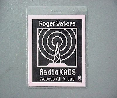 Roger Waters backstage pass Laminated tour pass RADIO CHAOS - Pink Floyd