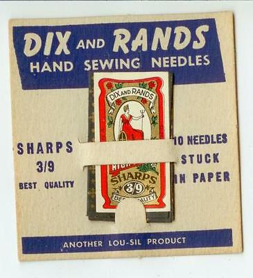 c1940s Dix & Rands Hand Sewing Needles card