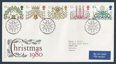 UK England First Day Cover # 928 - # 932 - Christmas 1980 - Cachet GPO
