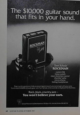 1982 Tom Scholz Rockman guitar sound fits in your hand print ad