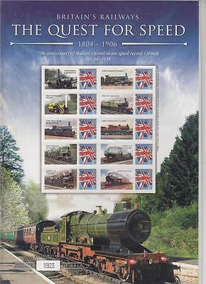 GB BC-154 - The Quest For Speed on the Railways (1804-1906) Smilers Stamp Sheet