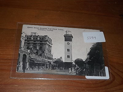 Old CEYLON  postcard our ref #55919 QUEEN STREET CLOCK TOWER COLOMBO