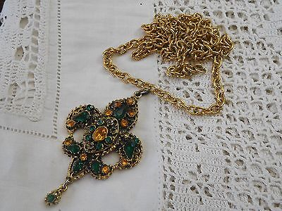 Dazzling Vintage 1960s Green & Yellow Crystal Drop Necklace