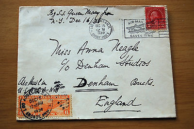 Anna Neagle Signed 1938 Envelope sent to her via SS Queen Mary To Film Studios