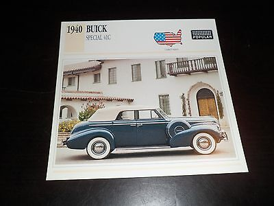 1940 Buick Special 41C Car Photo Spec Sheet Stat Info CARD