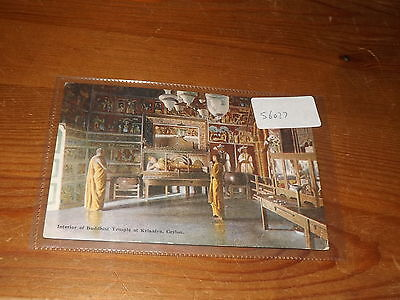 Old CEYLON PLATE ART  postcard our ref #56027 INTERIOR BUDDHIST TEMPLE