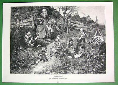 VILLAGE LIFE Family Kids Pick Flowers Knittting Sleeping - VICTORIAN Era Print