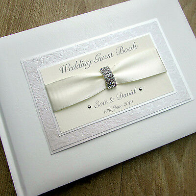 Wedding Guest Book Personalised Guest Book Guestbook Diamante Clasp 15 Colours