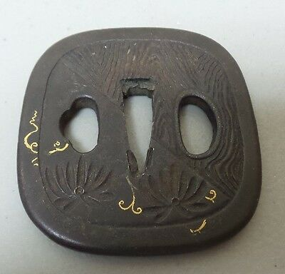 ORIGINAL 18th-19th C. JAPANESE IRON TSUBA, GOLD INLAY, SAMURAI SWORD GUARD
