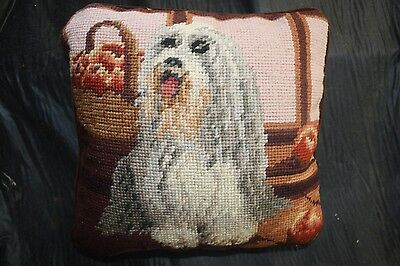 Bearded Collie   Handmade Needlepointed Pillow