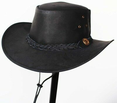 M Horse Western Cowboy Indiana Jones Crushable Oiled LEATHER Outback Hat 24H02
