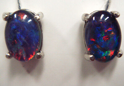 Australian Opal Natural Black Triplet Opal Earring With 925 Solid Silver Set