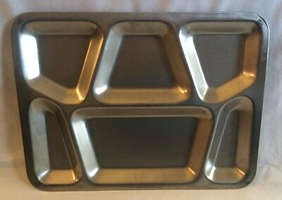 Vintage School Military Divided Cafeteria Meal Tray Plate Stainless Steel