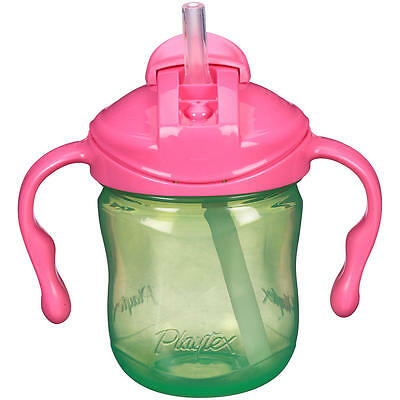 New Playtex BPA Free 6 Ounce Straw Trainer Cup - Green with Pink Lid