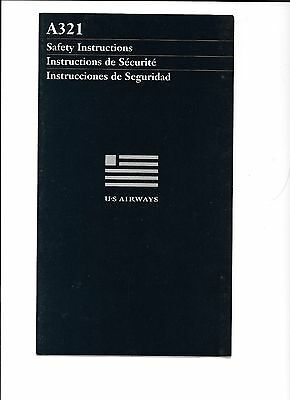 US Airways Airlines A321 Safety Card (1/01)