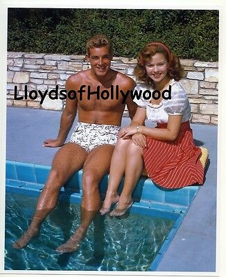 Guy Madison Beefcake Hunk At Pool Shirley Temple  Candid Color Photograph 1947
