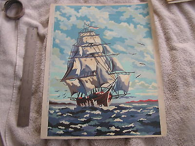 Vintage Paint by Number Clipper Ship Canvas