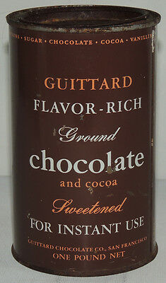 Antique GUITTARDS San Francisco CHOCOLATE Cocoa TIN Can Vintage Advertising