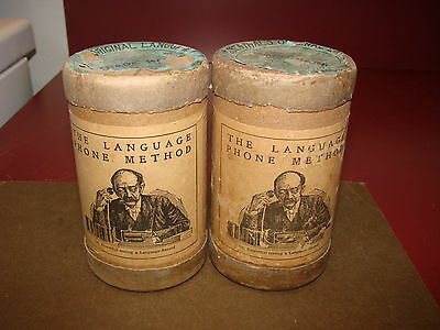 2 Dr. Rosenthal 2 Minute Wax Language Cylinder Records, w/ Boxes