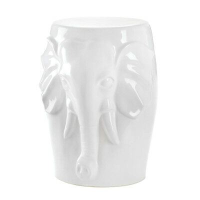 White Ceramic Decorative Elephant Bust Stool Accent Piece