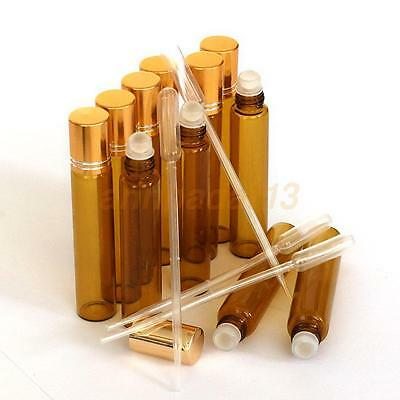 (5+2)PCS Amber 1/3 oz, 10 ml Glass Roll On Bottles With Gold Cap Roller+Dropper