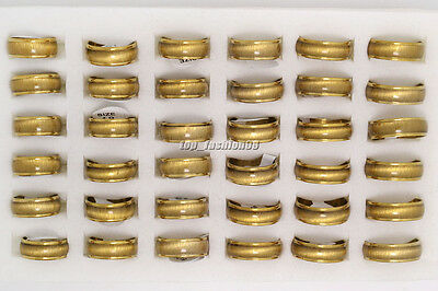Wholesale 30pcs Stainless Steel Rings Gold Colored Cat Eye Design Mixed Sizes