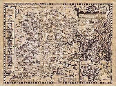 John Speed Map of Surrey 1610 6x5 Inch Photo Reprint