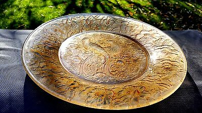"""Consolidated Art Glass Martele'-Brown """"The Birds Of Paradise"""" Charger Plate 12"""""""