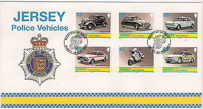 JERSEY 2002 POLICE VEHICLES SET OF 6 on FIRST DAY COVER