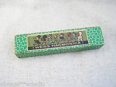 A VINTAGE C.H. WEISS HARMONICA with ORIGINAL BOX ~ EXCELLENT ~ WARTIME WW2?