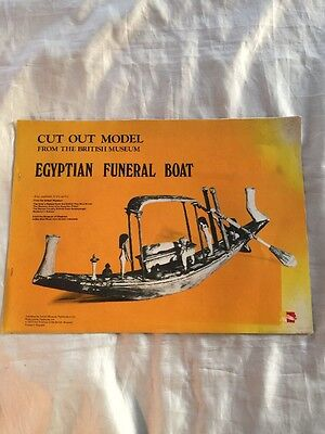 Vintage British Museum Egyptian Funeral Boat Paper Cardboard Cut Out Model