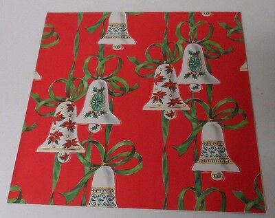 Vintage Christmas Wrapping Paper - COOL BELLS ON RED - Unused