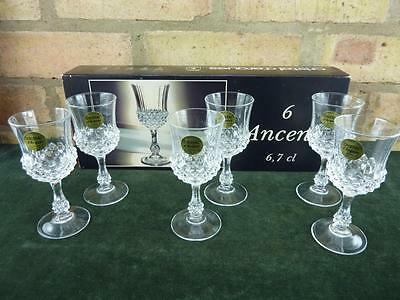 6 vintage Cristal d'arques lead crystal Sherry glasses Ancenis boxed