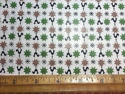 Vintage Cotton Fabric 40s50s CUTE Roosters Stars Twinklestars NOVELTY 36w 1yd