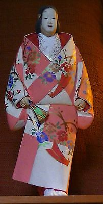 Vintage Japanese Hand-painted Noh Actor Doll with Display Case