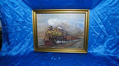 1984 Oil Painting 97 Engine At Station Steam Train Art Framed 14.5 X 18.5