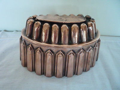 Large Antique Victorian Copper Jelly Mould / Mold Tinned Interior