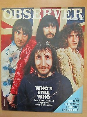 THE WHO - Observer Magazine March 1972 - Complete 1 Day UK Magazine  RARE