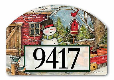 Red Barn Snowman Winter Magnetic Yard DeSign & Address Markers