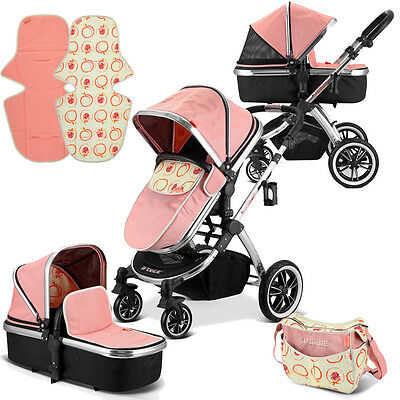 iVogue - Peach Luxury 2in1 Pram Stroller Travel System By iSafe (2017 - 2018)