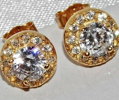STUNNING 9 CT YELLOW GOLD ON SILVER 1.75ct CREATED DIAMOND CLUSTER STUD EARRINGS